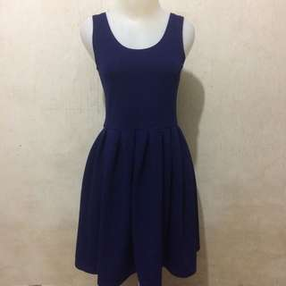 [PRELOVED] A LINE DRESS STRETCH BALLOON NGEMBANG NAVY POLOS SIMPLE CASUAL PARTY PESTA GAUN MURAH