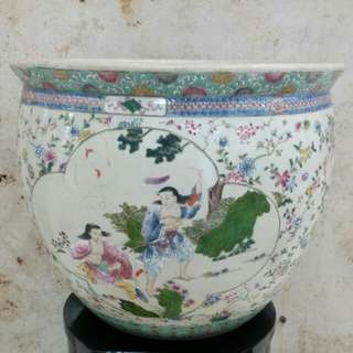 Antique porcelain 'gold fish container '