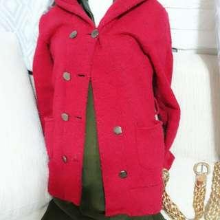 厚棉喜氣紅色連帽長袖口袋大圓扣外套