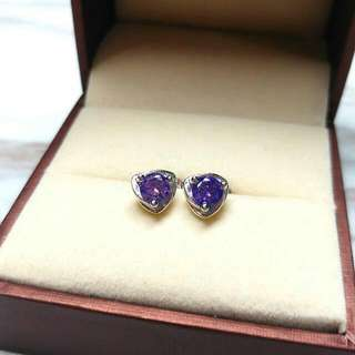 日本優雅紫水晶閃亮防敏感耳環 Brand New Japan Elegant Amethyst Shiny Anti-Sensitive Earrings