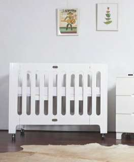 Bloom Baby modern solid wood crib (white) with customised mattress from the UK