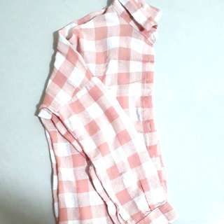 Brand New In Packaging Muave Dirty Pastel Pink And White Grid Checkered Collared Long Sleeved Button Down Shirt Top Flannel Outerwear