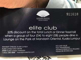 Mandarin Oriental 50% Lunch/Dinner Lounge at the Park