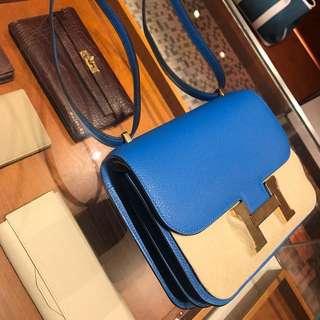 Hermes Mini Constance 19 Blue Hydra 金扣Evercolor - NEW