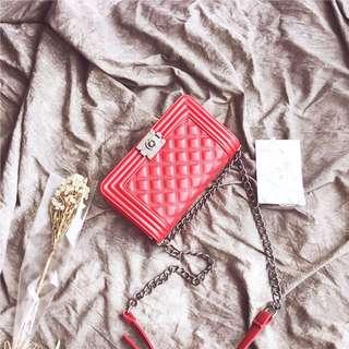 Designer Brand Ladies PU shoulder sling bag lattice stitching square shape handbag local seller