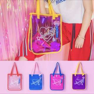 🍓PO🍓 transparent holographic jelly tote bag