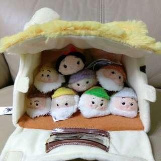 正版迪士尼雪姑七友迷你版tsum tsum 一套8隻連森林小屋 disney snow white & seven dwarfs