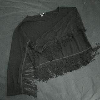 FOREVER 21 black fringe blouse