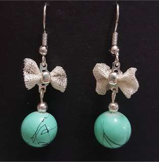 Ribbon and Turquoise Earrings
