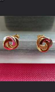 14K585  Tri -Colour Gold Earrings               ❤Love Knot❤ 14K585 三色金意大利耳環