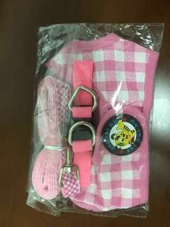 Dog puppy pink harness leash(Size S)