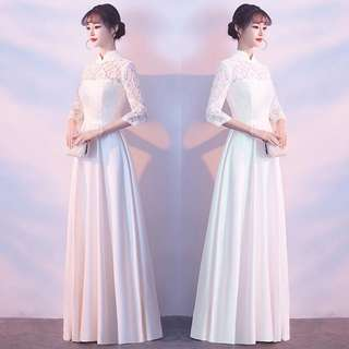 Champaign / white qipao design dress / evening gown / Wedding Dress
