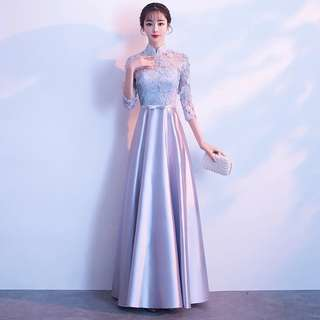 Sliver grey qipao design / Evening Gown