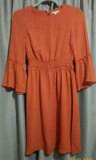 H&M Red Orange Chiffon Dress