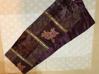 Purple embroidery scarf