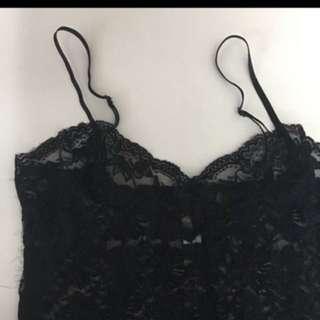 黑色花邊lace 透背心吊帶