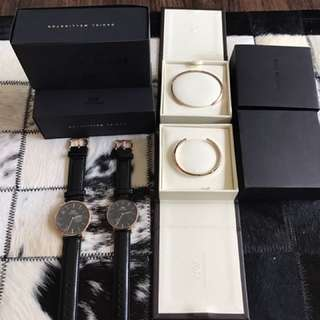 DW Daniel Wellington 40mm&36mm Couple watch + couple rose gold cuff