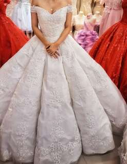 Repriced! Michael Cinco Inspired Offshoulder Sweetheart & Umbrella Cut Wedding Gown