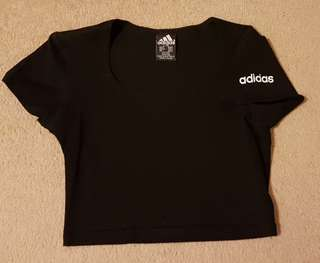 adidas black sports crop top