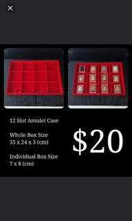 12 Compartment Red Amulet Box Casing Display