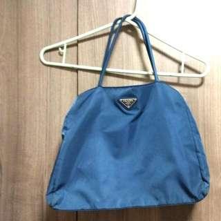 Prada Navy Blue Tote Bag