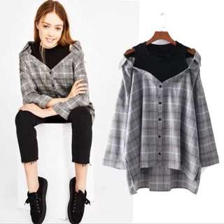 2018 European loose fitting band two checkered long loose shirt