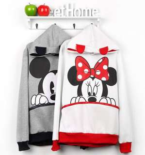 Mickey and Minnie Mouse With Front Pouch Hoodie Jacket