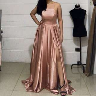 Rose Gold / Pink Long Evening Gown