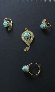 Pendant, earring and ring set