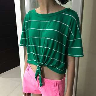 Forever 21 Green Stripe Tied Crop Top