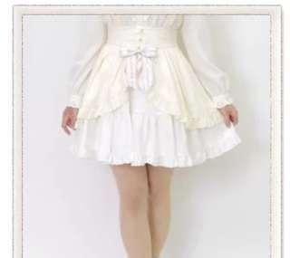 amavell日系新款軟妹萌妹公主風吊帶裙背帶蝴蝶結白色半身裙短裙蘿莉塔lolita日常