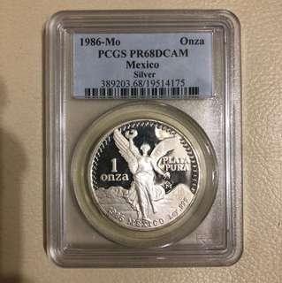 1986 Mexico Silver Libertad PCGS PR68 DCAM