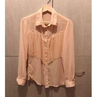 粉裸色 雪紡流蘇襯衫
