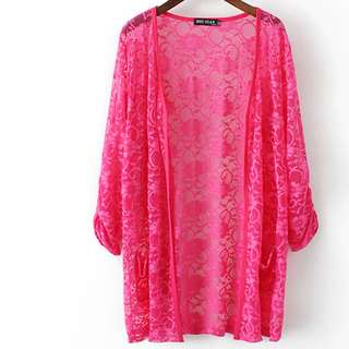 FLASH DEAL - Plus Size 2X Floral Lace Dolly OL Korea Pockets Shawl Cardigan Outwear