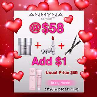 Anmyna Makeup Cream Free lipstick and eyeliner