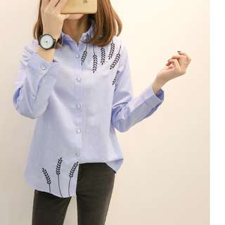 Plus Size 4X GSS Candy Blue Floral Embroidered Oversize Korea OL Shirt
