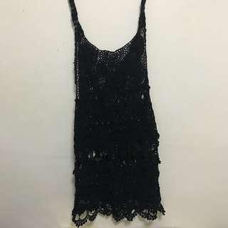 Black fishnet bodysuit beach wear