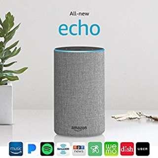 NEW Amazon Echo 2nd gen Heather Gray Fabric