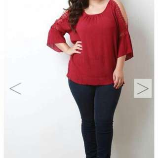 Plus Size Trumpet Sleeves Blouse