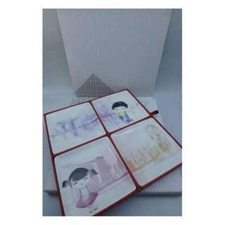星展銀行 ~ 星展彩瓷禮盒 陶瓷 方形碟-4款