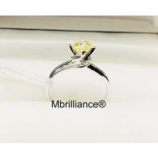 0.52cts VVS2 fancy yellow diamond ring with diamonds accents