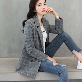 Plaid suit jacket female Korean casual ladies long sleeve short paragraph suit