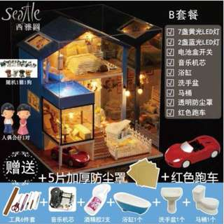 DIY Dollhouse/ Doll House/ Quality Puzzle/ Miniature furniture/ Seattle