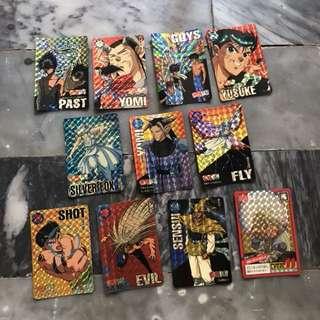早期幽游白書閃卡 懷舊老件收藏 遊戲卡萬變卡