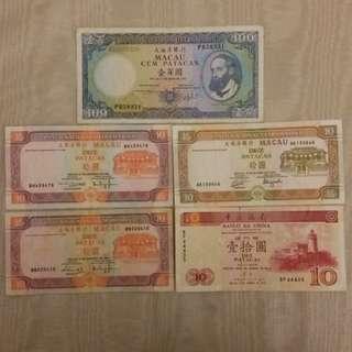 澳門紙幣 macau $100 $10