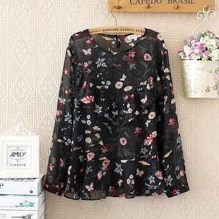 (XL~4XL) Floral chiffon shirt long-sleeved shirt spring and summer new Korean loose ear shirt