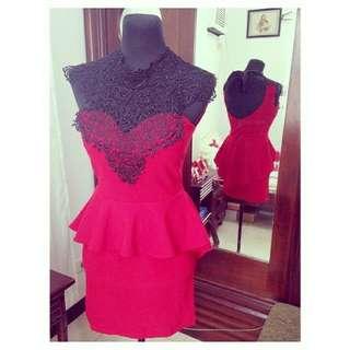 Red detailed peplum dress