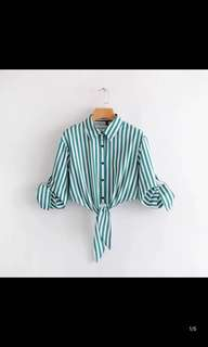 Europe and the United States new thin long-sleeved lapel green stripes small collar short section of the exposed blouse shirt