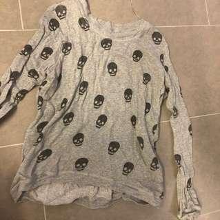 Zara skull grey thin knit sweater top