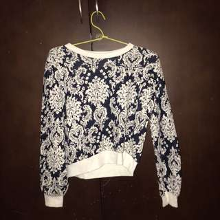slightly cropped navy sweater